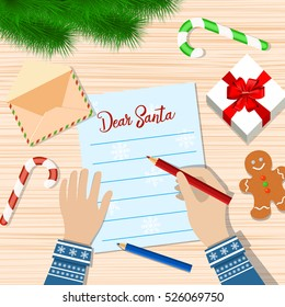Child Hand with pen Writing letter to santa claus. wooden desk with candycane, envelope and fur branches. wishes on christmas and new year eve. vector illustration.