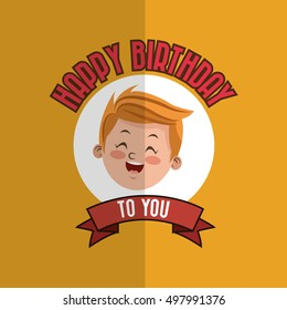 child with happy birthday related icons image