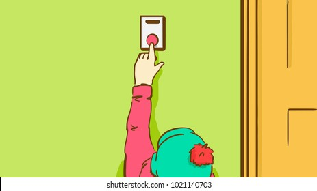 Child in a Hat with Bonbon Pushing a Doorbell Button. Cartoon Vector Sketch In Pastel Colors.