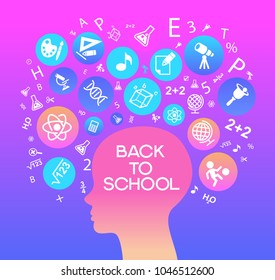 Child Head education.Children Learn to think. Child head outline with education icons. Bright color image on a black background. The file is saved in the version AI10 EPS
