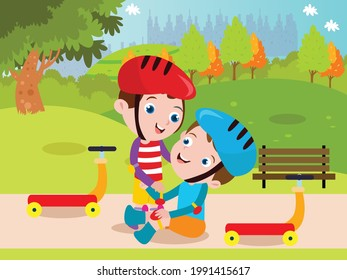 Child help vector concept. Boy helping his friend falling from scooter at the park