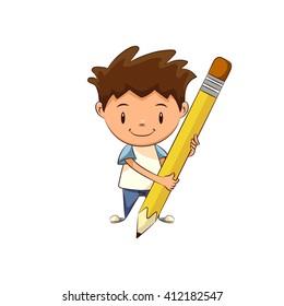 Child holding big pencil, vector illustration