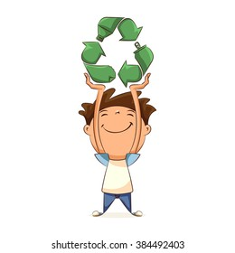 Child holding recycling symbol, concept, vector illustration