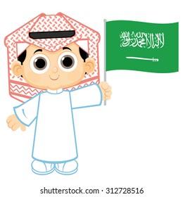 Child Holding Saudi Arabia flag