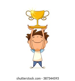 Child holding trophy