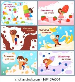 Child with ice cream vector illustration. Cartoon tiny girl boy kid character holding icecream waffle cone, happy children eat fruit or berry, banana chocolate dessert. Summer sweet food banner set