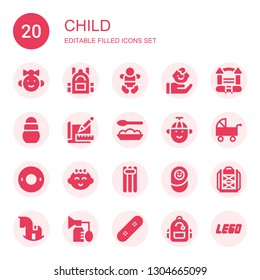 child icon set. Collection of 20 filled child icons included Baby girl, Backpack, Baby, Child, Bouncy castle, Toy, Sketch, Baby food, Boy, Pushchair, Float, Floating, Newborn