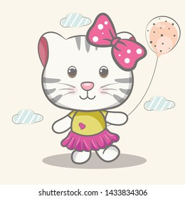 Child illustration with a cute cat with balloons  - vector