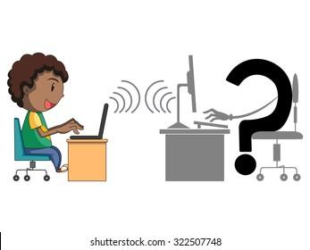 Child and internet, danger, concept, vector illustration