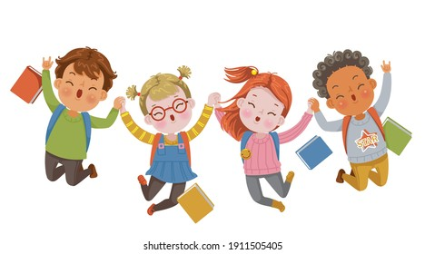 Child jumping. Children jump in the school. Illustration for Children's Day and Education. The moment together of friends. A healthy and happy child.