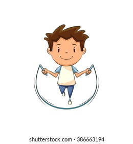 Child jumping rope, vector illustration