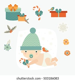 Child, kid. Cute baby. Christmas and New Year. Vector set.
