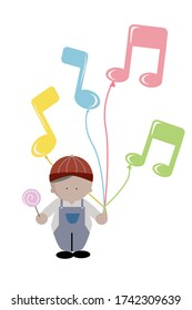 Child kid hand hold colorful music note balloon isolated on white. Cartoon  icon vector design illustration.