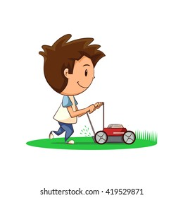 Child, lawn mower, vector illustration