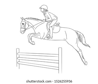 Child is learning on a pony show jumping