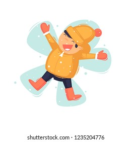 Child lies in the snow. Flat vector illustration in cartoon style.
