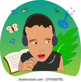 child listen to music and books learning science nature maths using headphone enjoy eating red lollipop on green shades gradient background