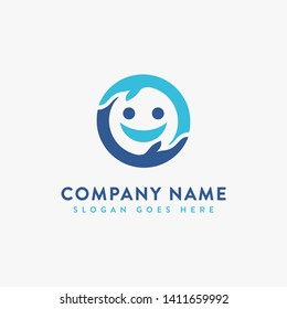 child logo icon, caring kid, caring son, smile icon, happy face, hand logo icon vector template on white background
