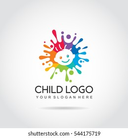 Child logo template. colorfun and baby image. vector illustrator eps.10