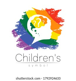 Child logotype with brain and question in rainbow brush vector. Silhouette profile human head. Concept logo for people, children, autism, kids, therapy, clinic, education. Template symbol design