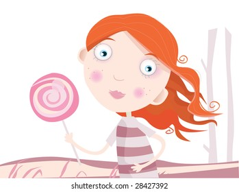 Child with lollipop. Small girl with sweet lollipop. Art Vector Illustration.