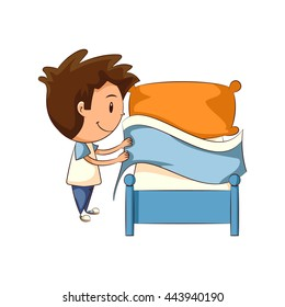 Child making bed, vector illustration