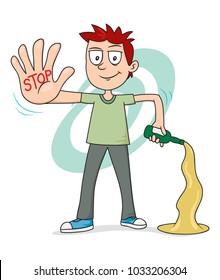 Child making stop drunk, illustration vector cartoon