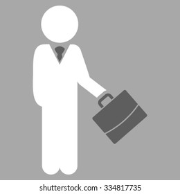 Child Manager vector icon. Style is bicolor flat symbol, dark gray and white colors, rounded angles, silver background.