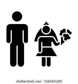 Child marriage glyph icon. Girl and man, groom and bride. Forcible wedlock. Compulsory marriage. Female, male rights. Silhouette symbol. Negative space. Vector isolated illustration