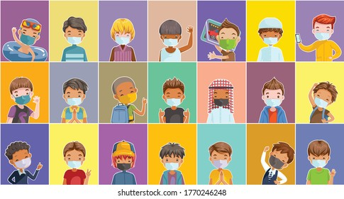 Child mask for new normal concept. Children different nationalities characters. Cute boys cartoon different and various ethnicities. Fashion and hairstyles of children. Kid poses and emotions.