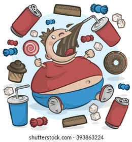 Child obesity graphic. Fat kid eating sugar treats.