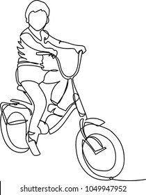 the child is on a bicycle. one line