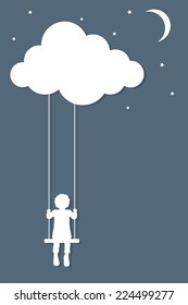 Child on swings hanging from cloud in paper cutout style