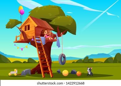 Child on tree house, little girl with dog playing on children playground, treehouse with wooden ladder and tire swing, place for kids games on summer landscape background, Cartoon vector illustration