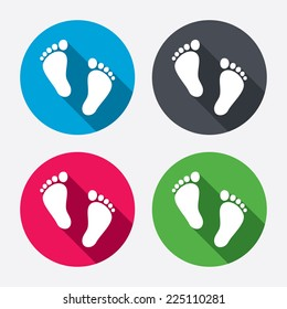 Child pair of footprint sign icon. Toddler barefoot symbol. Baby's first steps. Circle buttons with long shadow. 4 icons set. Vector