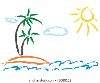 Child picture of palm and sea