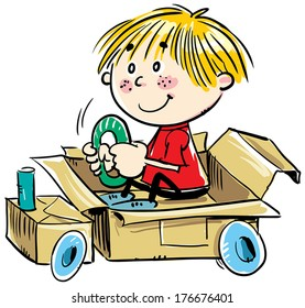 A child playing in a box.