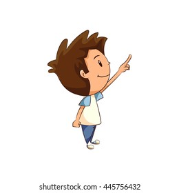 Child pointing up, vector illustration