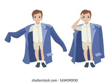 Child is pretending to be adults, dressed his father's clothes, large size. Gives honor. Vector character in different poses on a white background. Vector flat illustration, cartoon design