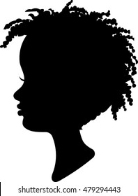 Child Profile Silhouette - African - Vector Illustration