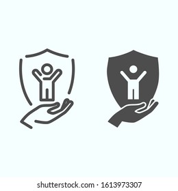 Child protection line and glyph icon. Baby in shield vector illustration isolated on white. Kids safety outline style design, designed for web and app. Eps 10