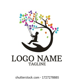 child protection logo, natural colored tree logo