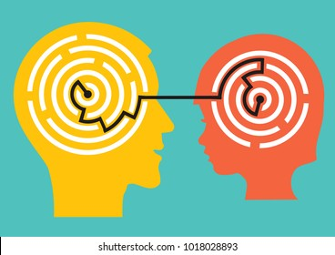 Child psychologist and child concept. Stylized illustration of male and child head with a maze symbolizing the solution of psychological problems.Vector available.