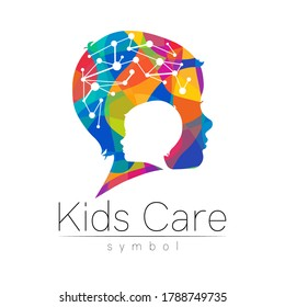 Child rainbow logotype in vector. Silhouette profile human head with brain. Concept logo for people, children, autism, kids, therapy, clinic, education. Template symbol modern design isolated on white