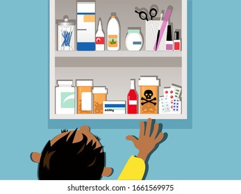 Child reaching for a dangerous drug in a medicine cabinet at home, EPS 8 vector illustration