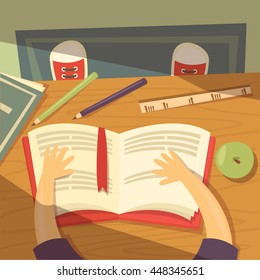 A child reading a book. He sits at the table. Around him are the tools. Apple is on the table. From the window the sun is shining. Vector cartoon illustration
