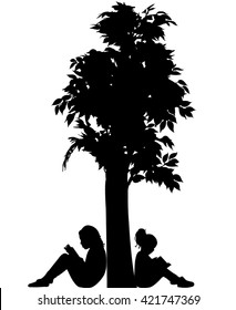 child reading the book, silhouette vector