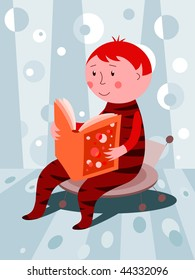 Child reading a book - vector