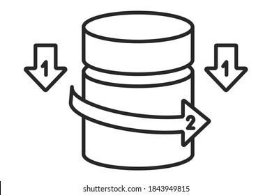 Child resistant pill bottles opening method. Baby Proof Container. Lock opening instruction. Press, pull from top, turn cover left. Poisoning safety.Vector outline icon illustration. Editable stroke.