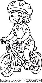 a child rides a bike